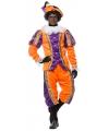 Deluxe pieten kostuum paars met oranje